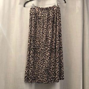 H&M | Leopard Midi Skirt | Pleated | XS